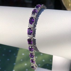 Jewelry - Amethyst & Cambodian Zircon Bracelet - 14.62 cts